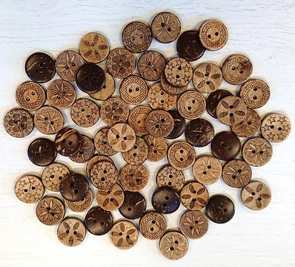 Mönstrad kokosknapp 18 mm 5-pack-3743